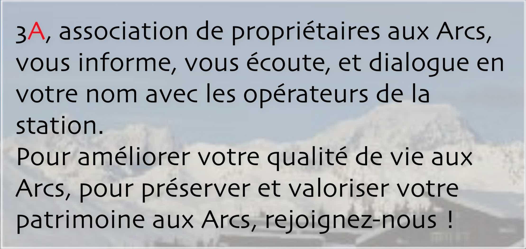 3A, association de propriétaires aux Arcs
